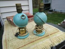 Vintage Lamps Set Metal Blue with Ball 9quot; Tall Should Be Rewired