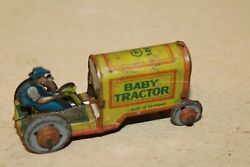 Vintage 1920's Tin Lithograph Cko Kellerman Penny Toy Baby Tractor With Driver