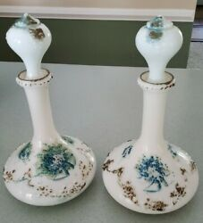 Antique Pair Of Victorian Embossed Hand Painted Milk Glass Barber Bottles