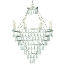 Crystorama Lucille 8 Light Chandelier, Antique Silver - Luc-a9068-sa
