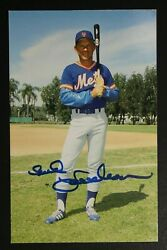 Bud Harrelson 1965-77 New York Mets Signed Autographed 4x6 Photo Postcard