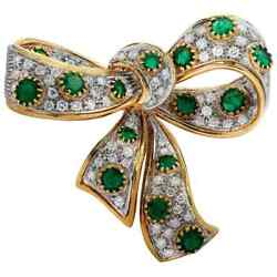 Christmas 1.25ct Natural Round Diamond Emerald 14k Solid Yellow Gold Brooch Pin