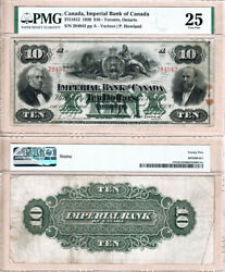 Scarce 1920 10 Imperial Bank Of Canada In Pmg Vf25 Condition