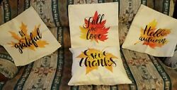 Autumn Pillow Covers 17x17 4 PC Set Throw Pillow Cases Maple Leaf Rustic