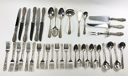 Antique Sterling Silver Maryland Rose Stieff Flatware Serving 1920's 40 Pieces
