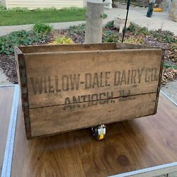 Antique Wood Milk Crate Willow Dale Diary Co. Antioch Illinois