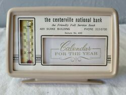 Vintage Centerville National Bank 1969 Calendar And Thermometer Advertising Iowa