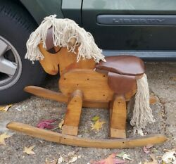 Vintage Hobby Wooden Rocking Horse Leather Seat Yawn Hair Child's Toy Home Decor