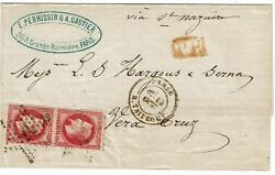 France 1869 Paris Star Cancel On Cover To Mexico, Pair Scott 36