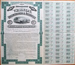 Vernon, Greensburgh And Rushville Railroad Co. 1880 Bond Certificate - Indiana In