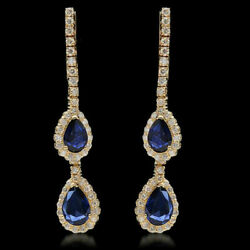 Christmas 2.40ct Natural Round Diamond Blue Sapphire 14k Rose Gold Earring