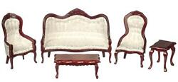 Dolls House Mahogany And White Victorian Living Room Furniture 5 Pc Set Miniature