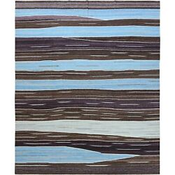 12and0394x15and039 Oversize Hand Woven Brown Mountain Design Flat Weave Kilim Rug R60043
