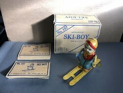 J Chein Ski Boy 157 Skier Tin Litho Wind Up Excellent Working Well With Box