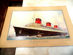 Rare The Normandie French Line The Worlds Largest Ship Advertising Sign Basson