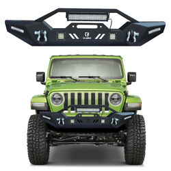 Front Bumper With 5xled Lights And Winch Plate For 2007-2021 Jeep Wrangler Jk/jl