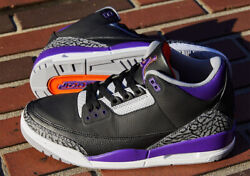 Nike Air Jordan 3 Retro Black And039court Purpleand039 Size 7-12 Mens Shoes Ct8532-050 New