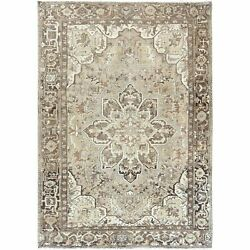 8and0391x11and0394 Abrash Flower Design Brown Worn Farsian Heris Hand Knotted Rug R60156