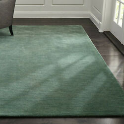 Area Rugs 10and039 X 14and039 Baxter Jade Green Hand Tufted Crate And Barrel Woolen Carpet