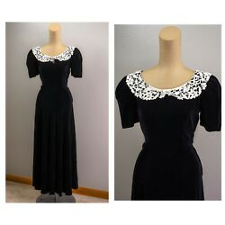 Vintage 40s Black Rayon Velvet Evening Gown Lace Collar Puffed Sleeves Vampy