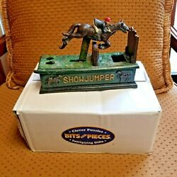Nib Show Jumper Mechanical Bank Authentic Foundry Cast Iron Equestrian Horse New
