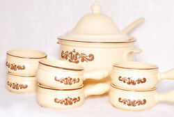 Vintage Collectible Pfaltzgraff Beige Stoneware Soup Bowl And 6 Bowls