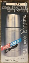New Old Stock Hot Cold Champ 0.5 L Thermos Vacuum Bottle Stainless Steel Pics