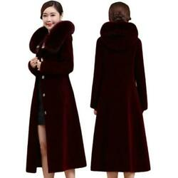 Womens Cashmere Shearling Coat Real Fox Fur Collar Hooded Winter Warm Overcoat L