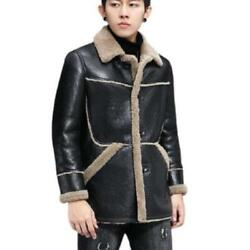 Winter Parkas Menand039s Real Sheep Leather Wool Lined Warm Business Jackets Lapel L
