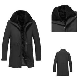 Parka Mens Real Mink Fur Lined Coats Business Lapel Furry Thicken Warm Casual L
