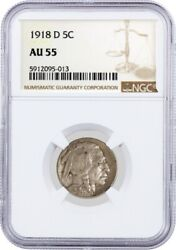 1918 D 5c Buffalo Nickel Ngc Au55 About Uncirculated Key Date Coin