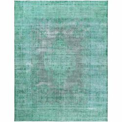 9'7x12'5 Hand Knotted Shades Of Light Green Overdyed Farsian Karman Rug R60305