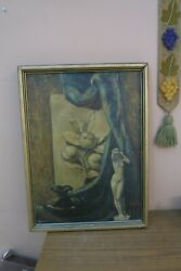 Antique Dated 1936 Signed Oil On Canvas Painting Nude Framed 18 X 25 Framed