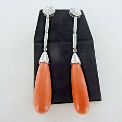 Good Quality Pair Of 18 Carat White Gold, Coral And Diamond Earrings.