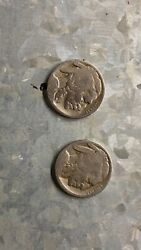 Pair Of 1916 Double Stamped Buffalo Nickels. Valuable Set Of Lifetime Collection