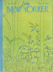 New Yorker cover Preston Flock of bluebirds on stone wall amp; trees 5 14 1966