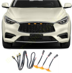 3pcs Grille Led Amber Light Raptor Style Grill Cover For Infiniti Q70 2015-2019