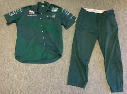 Vintage Aj Foyt Conseco Pit Crew Shirt And Pants Size Xl Green