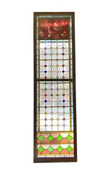 19th Century Stained Glass Window With Round Color Jewels