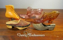 Collection Of Five Miniature Shoes Antique Porcelain Glass Fenton Brass Chinese