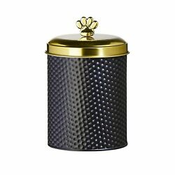 Amici Woofgang Pet Round Metal Black Matte Storage Canister With Gold Lid 70 Oz