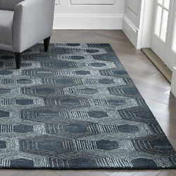 Area Rugs 9and039 X 12and039 Gramercy Blue Hexagon Hand Tufted Crate And Barrel Carpet