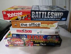 Board Game Lot Monopoly,risk, Battleship, The Office, The Logo Game, Loaded Ques