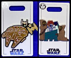 Disney Parks 2 Pin Lot CHRISTMAS Star Wars Millennium Falcon candy R2D2 NEW $15.99