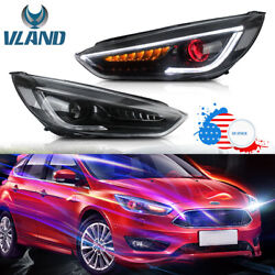Audi Style Led Headlights For Ford Focus 2015-2018 Projector Sequential Drl Lamp