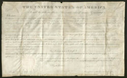 James Monroe - Land Grant Signed 10/01/1823 Co-signed By George Graham