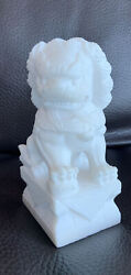 Single China Carved Marble Foo Dogs White Vintage