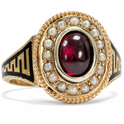 Victorian Dated 1897 Antique 625 Gold Ring With Garnet, Pearls And Email Tauer