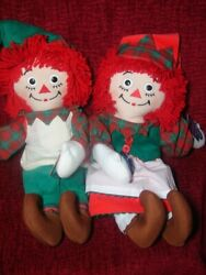 Holiday Raggedy Anne And Andy Christmas Elf Dolls 15 Applause Hasbro New W/ Tags