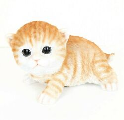 7.2quot; ORANGE TABBY CAT FIGURINE STATUE LIFELIKE COLLECTIBLE ANIMAL HOME DECOR